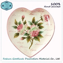 Excellent 10 Inch Pink Heart Wedding Decor Earthenware Plates Factory