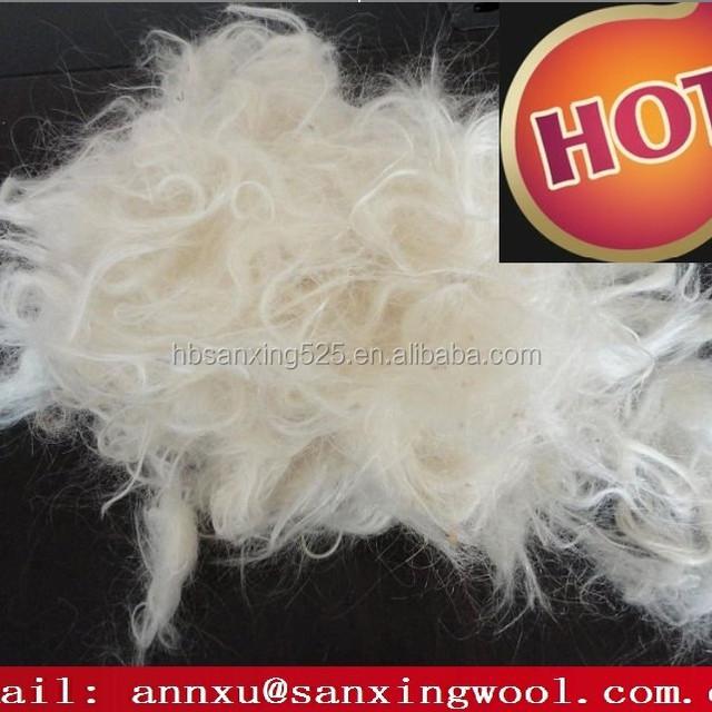carded goat hair, goat hair noils white color, 34mic 50mm