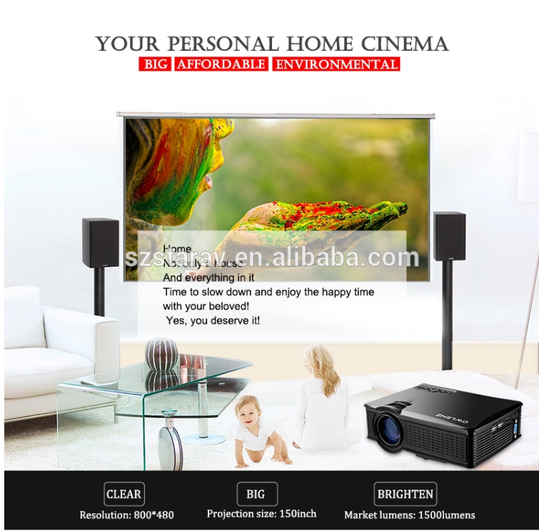 Home use wifi led projector for cellphone support full hd 1080p movie video projection screens at cinema