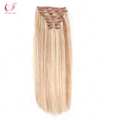Wholeslae Double Drawn 120g 160g 220g 240g Thickness Double Weft With Lace Clip In Hair Extensions