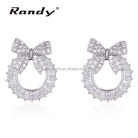 Round Bowknot White Stone Stud Earrings Wholesale Lot For Girls
