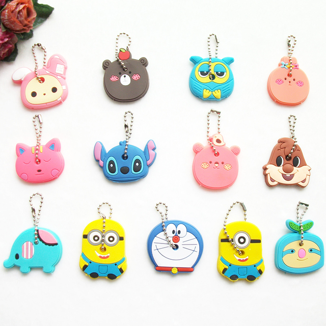 2PCS/lot Cartoon Anime Silicone Cute Hello Kitty Owl Key Cover For Women Key Cap Stitch Keychain Key Chain Key Holder Gifts