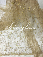 Evening dress top lace/gold sequins lace/african lace fabric