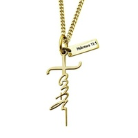 Stainless steel faith cross necklace Hebrews 11:1 scripture pendant religious necklace custom 18k real gold necklace jewelry