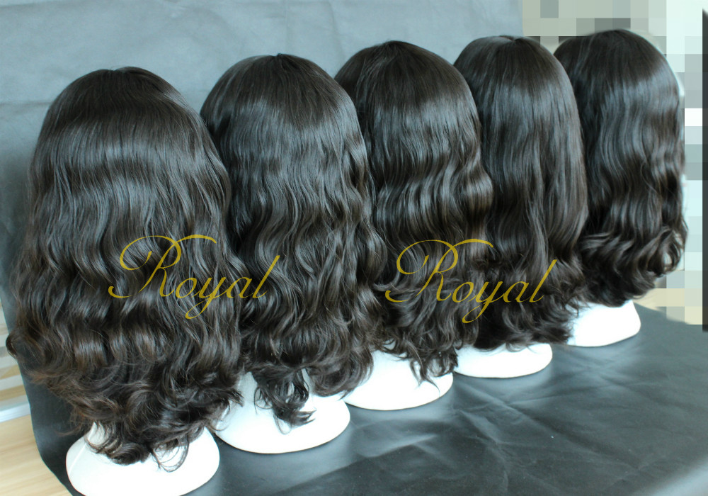 "Wholesale Price Hot-selling 21"" Nature Color Small Layer Virgin Hair Jewish Wig Kosher Wigs"