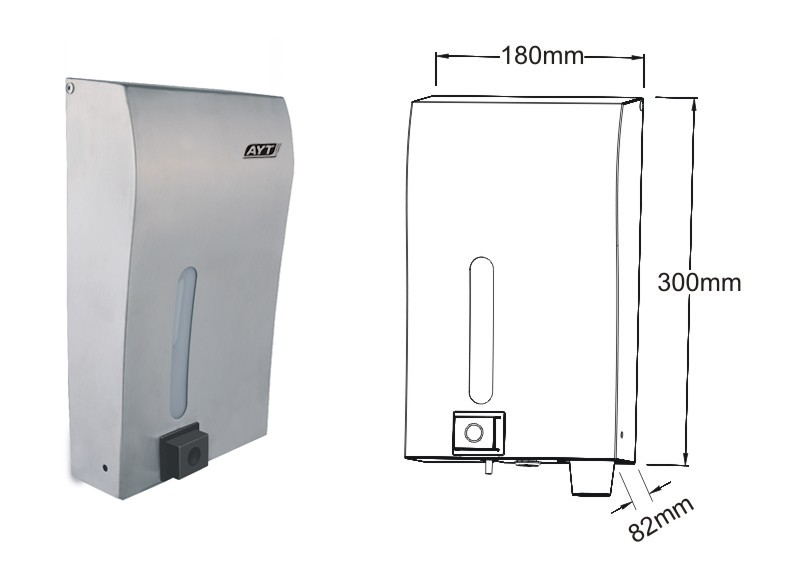1200ml stainless steel manual mouthwash dispenser