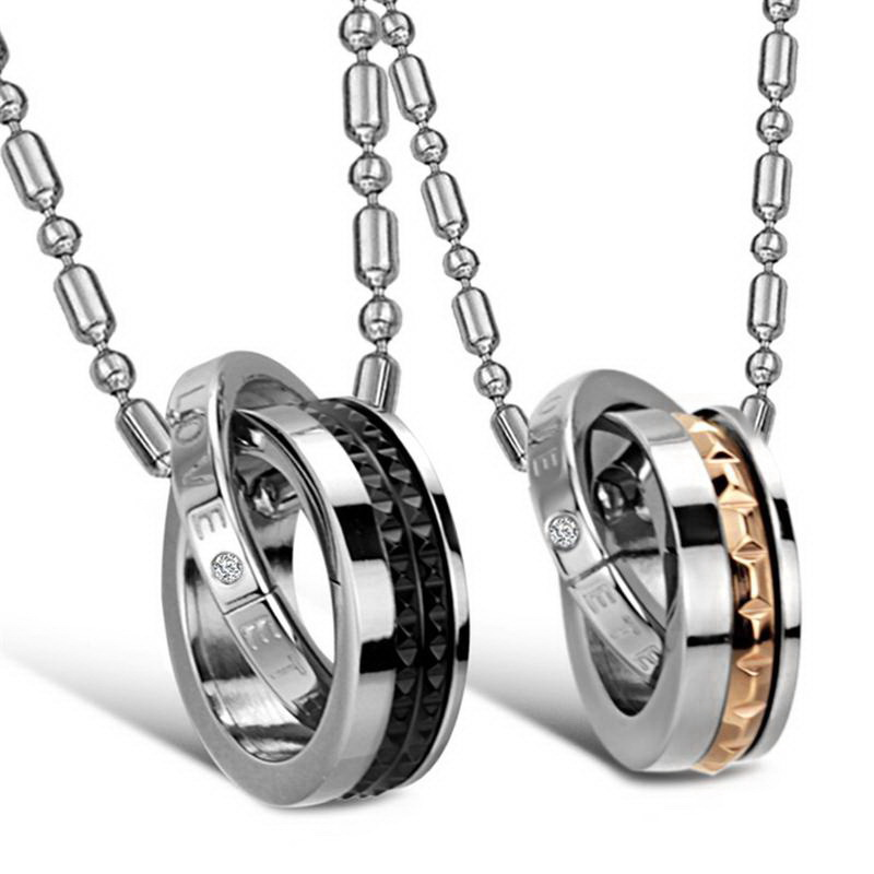 High quality Double circle Couple love symbol pendant necklaces GX761