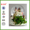 Green Dragon Clutching Crystal With Mystic White Unicorn And Castle In The Clouds Water Globe Sculptured Resin Water Ball Music