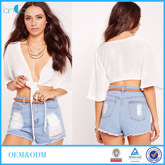 New Fashion White Tie Front Women Half Sleeve Sexy Plain Crop Tops and Blouse LC8103-N
