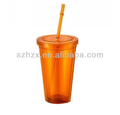 European fashionable double wall food grade plastic cup with straw lid