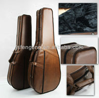 high quality leather exterior foam case for classic and acoustic guitars