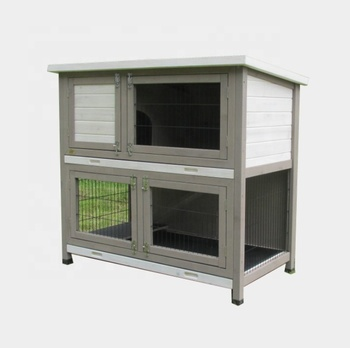 Whosales indoor cheap double wood  rabbit hutch cage with tray