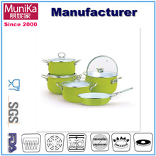 7 pcs carbon steel enamel cookware sets/induction colored enamel cookware set/pots and pans