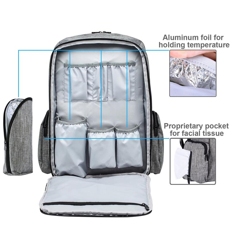 25L polyester denim fabric professional mummy bag multifunctional diaper bag