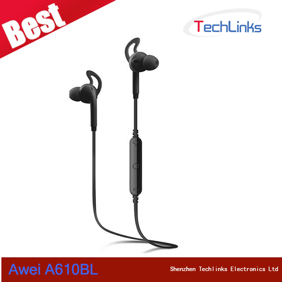Awei A610BL Wireless Sports Bluetooth 4.0 Headphones Noise Isolation Earphone Wireless Stereo Headset With Mic