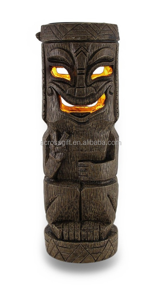 Hot Sale Personalized Handmade Color Painted Decorative Tiki Solar Accent Light