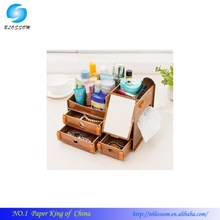 DIY Desktop Multifunction Wooden Hollow Books File drawer/Make up Removable Collection Organizer/Cute Desktop Storage Box
