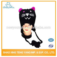 Knitting hat supplier Best selling Fashion Acrylic knitted hat wool CAT crochet baby hat