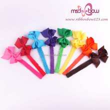 grosgrain ribbon hair bows with elastci band for cute baby hair ornament