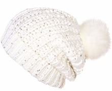Promotional Price Ladies Chunky Knit Slouch Beanie Sequins And Detachable Fur Pom Pom Womens Winter Hat Cap