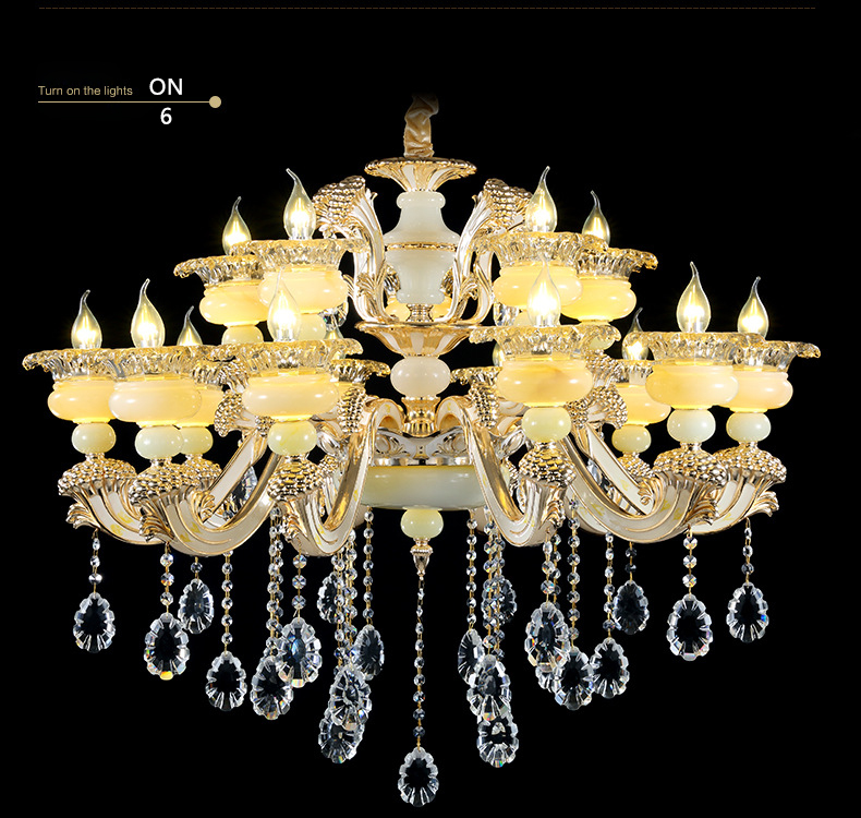 wholesale big clear 8 lights crystal chandelier Hotel chanderlier lamp living room chandelier