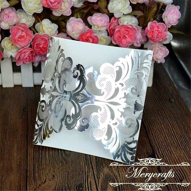 Silver laser cut quinceanera and bridal shower wedding invite card