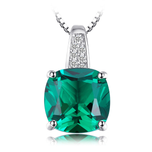 JewelryPalace 3.4ct Created Green Emerald Pendant 925 Sterling Silver Fine Jewlery Without Chain