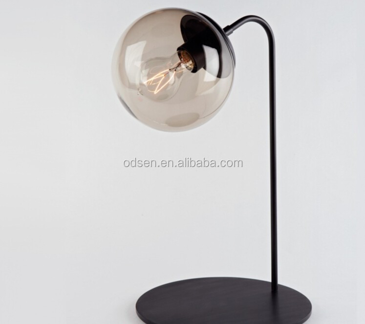 Fancy bedside edison table lamps with glass shades