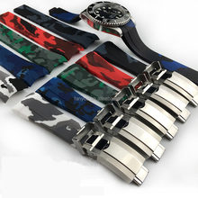 Luxury 316L Stainless Steel Deployment Buckle Camouflage Color Rubber Band Camo The Silicone Watch Strap 20MM For Daytona Watch