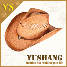 summer high quality made in china straw cowboy hat cheap wholesale