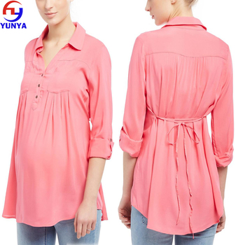 Latest popular pink color front pocket long sleeve rayon maternity shirt wear