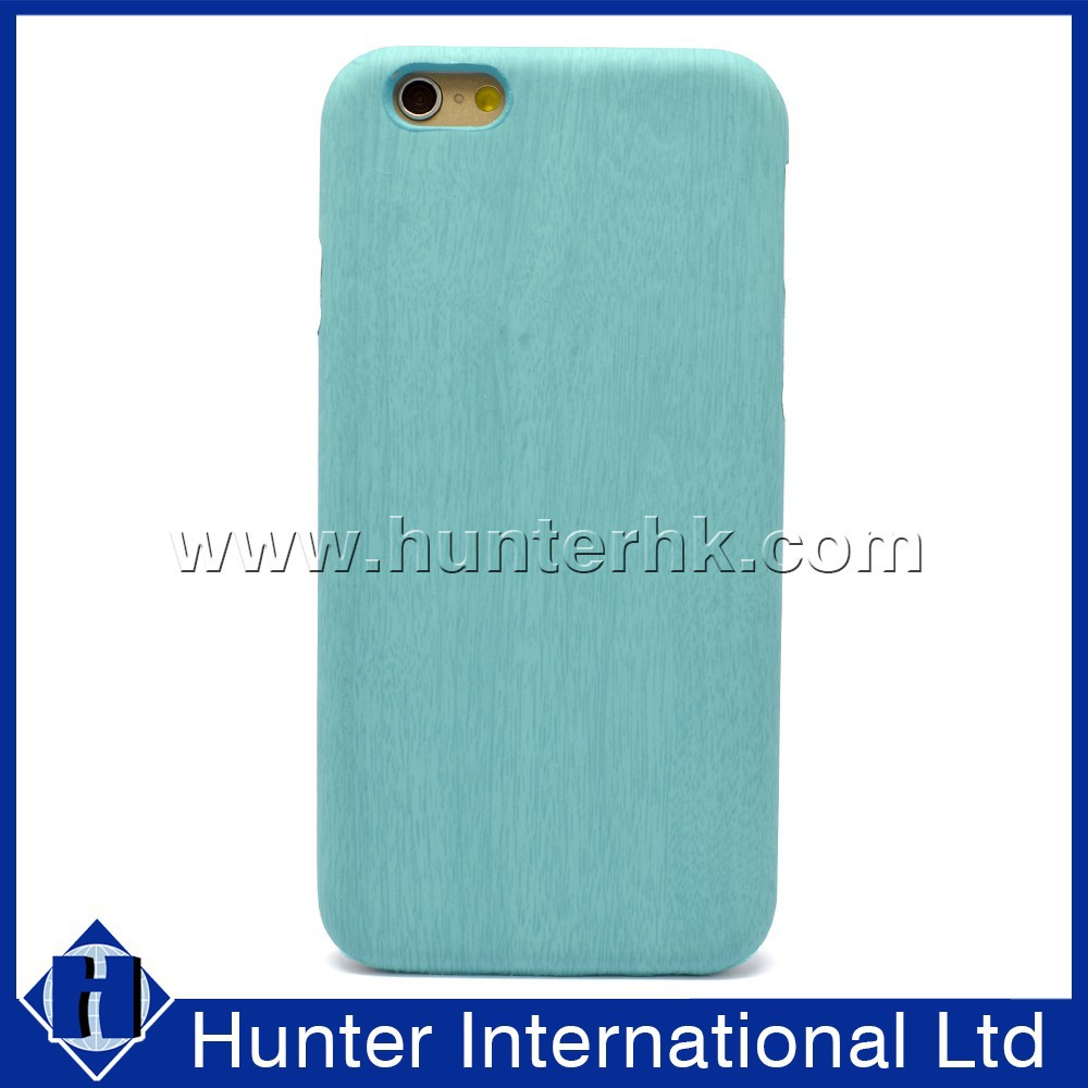 Fashion Pu Leather For Apple iPhone 6 Wood PC Case