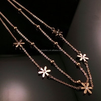 2015 New Arrival women female Fashion gold thin long necklace chain