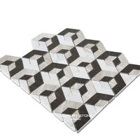modular home 3d wallpaper black and white hexagon mosaic floor tiles
