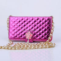 Luxury Bling Diamond Long Gold Pearl Chain PU Leather Hangbag Wallet Holder Stand Case Cover For iPhone 5C