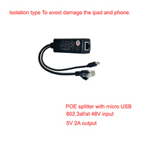 POE splitter micro USB output 802.af support 10/100Mbps 5V 2.4a power for ipad and phone