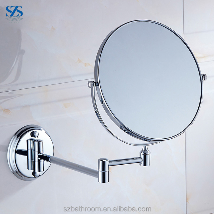 Double Side 3x5x Magnifying Dual Armed Extend Wall-Mounted Bath Makeup Mirror