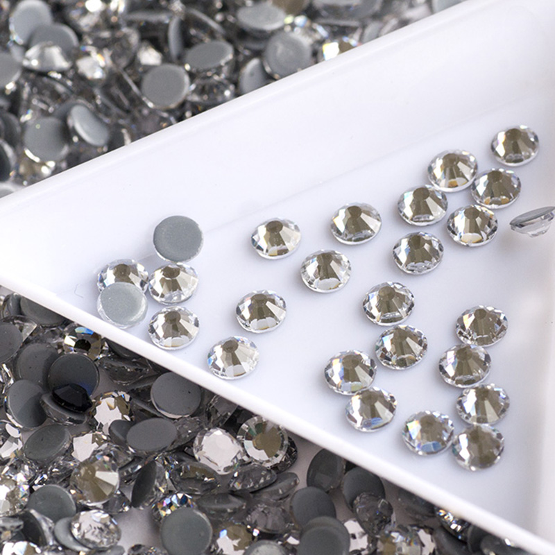 Cleary Shiny Flat Back Rhinestones Strass Hot-Fix Glass Heat Iron Sewing Fabric Garment nail art Rhinestones Crystals Stones