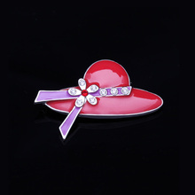 Fashion Brooches for Women Red Enamel Hat Shape Brooch Pins