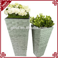 Set 3 Rectangle Plastic Rattan Planter Black Flower Pot
