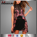 2018 New Design High Quality Lady Black Print Lace Slip Dress Midi Length Sleeveless Sexy Hot Girl Fashion Dress