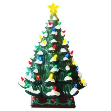 16.5-Inch Vintage Ceramic Pine LED Christmas Tree