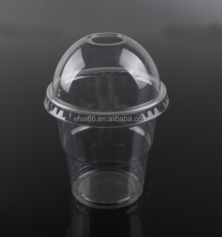 Disposable clear dessert ice cream PET plastic sundae cups with dome lid