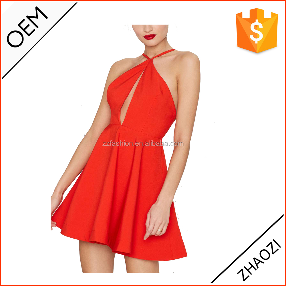 Open back dress with sexy red halter top/women dresses high fashion