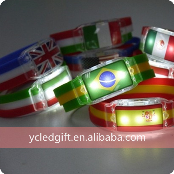 Hot New Products For 2014 LED National Flag Silicon Bracelet For 2014 Brazil World Cup