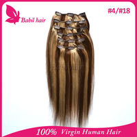 no shedding clip in hair extension brown/blonde mixed human hair extensions