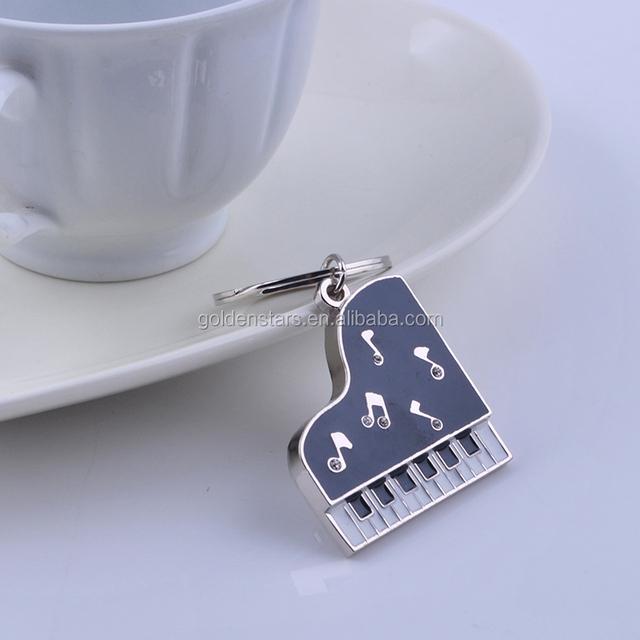 Keyboard key chain ring music lovely mini metal piano keychain