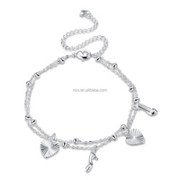 OUXI 2017 Hot sale silver design anklet for women C30119-991000