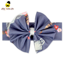 Baby flower headband custom design plain fabric knitted bow headbands accessories factory wholesale