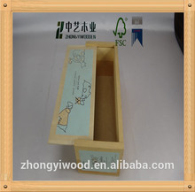 Shabby chic competitive price solid pine unfinished Wooden Brush Pencil Cases Boxes Plain Wooden Boxes Color pencil set